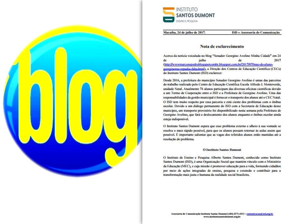 Nota de Esclarecimento da Direção do Centro de Educação Científica do (ISD) após matéria veiculada