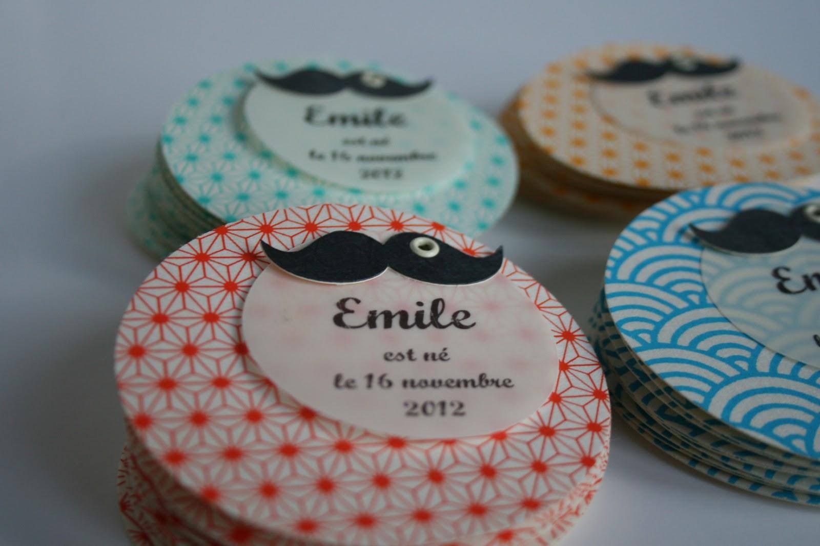 fleur de pommier dans son atelier faire part moustache r tro et vintage pour b b emile. Black Bedroom Furniture Sets. Home Design Ideas