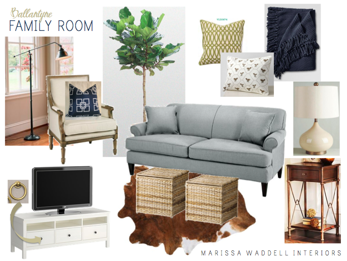 Navy And Natural Living Room Design