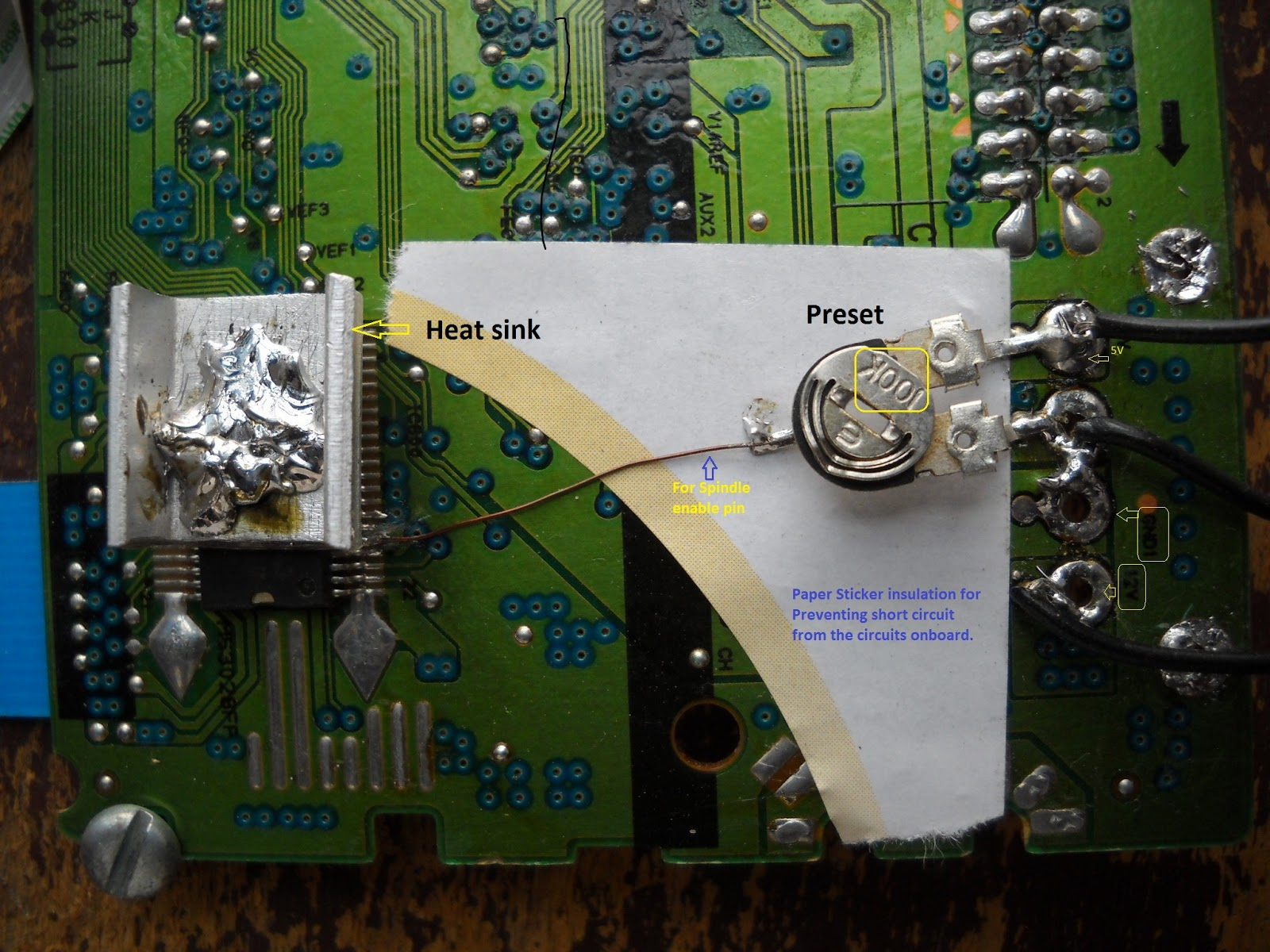 Diy Electronics Cd Dvd Drive Motor Driver Hack To Run Its Own 3 Brushless Controller Circuit Actually I Overrided The P Coming From Other Control Ic Of Board By Simply Sodering O Preset That Pin