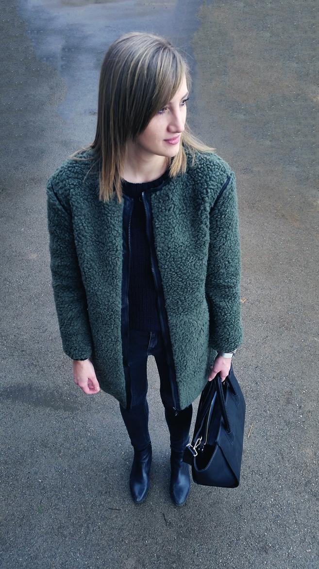 khaki fashion trend, teddy coat, khaki coat, blogger outfit, minimalistic style