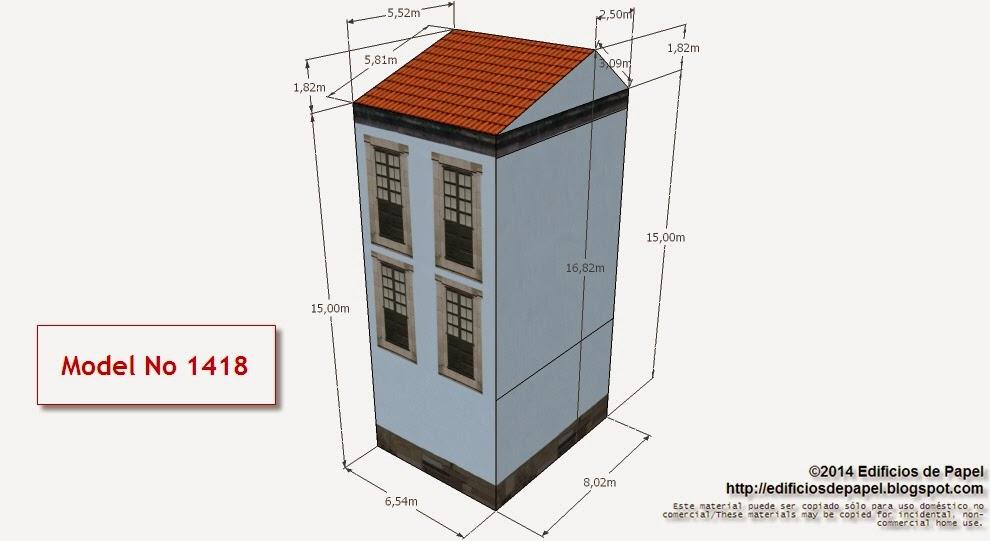 """Edificios de Papel - Modelo 1418 - Casona Urbana Gallega 5. Serie """"Ourense"""" - """"Ourense"""" series."""