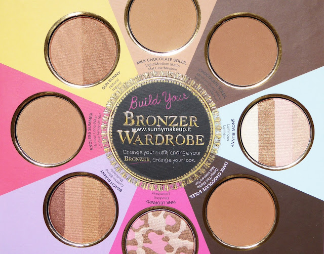 Too Faced - The Little Black Book di Bronzer, Palette Viso con: Chocolate Soleil, Milk Chocolate Soleil,  Dark Chocolate Soleil, Snow Bunny, Pink Leopard, Beach Bunny, Endless Summer, Sun Bunny.