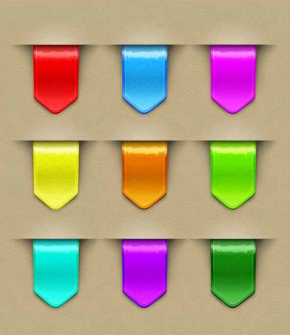 9 Colorful Web Ribbons PSD