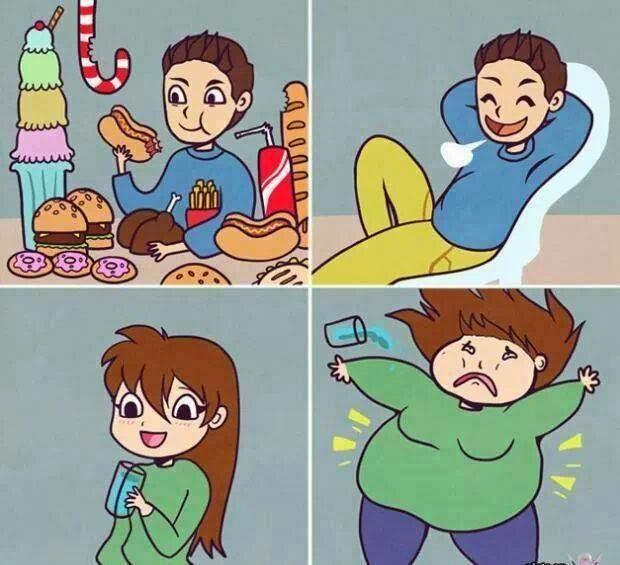 Hombres y mujeres comiendo