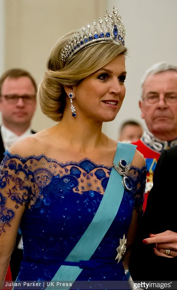 Queen Maxima of The Netherlands attends a State Banquet at Christiansborg Palace in Copenhagen, during The State visit of King Willem-Alexander, and Queen Maxima of The Netherlands,