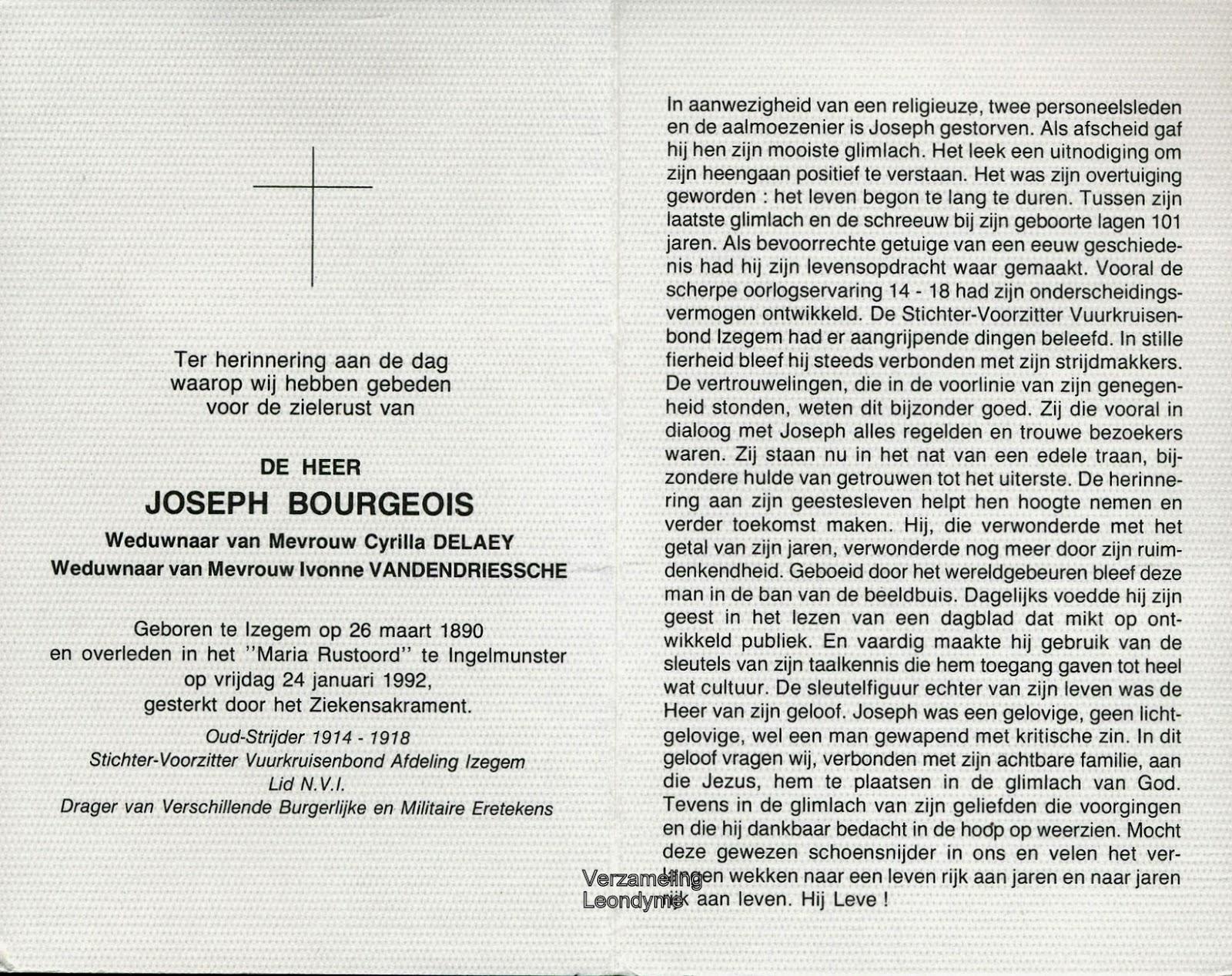Bidprentje, Joseph Bourgeois