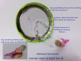 Mermaid Terrarium, no-care needed, dry terrarium. Night Sea 90.