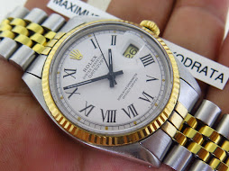 ROLEX OYSTER PERPETUAL DATE JUST WHITE ROMAN DIAL aka BUCKLEY DIAL - ROLEX 1601 BUCKLEY DIAL