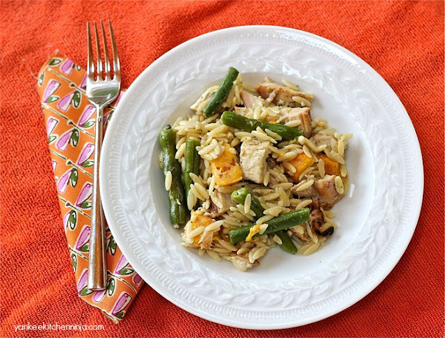 Easy sweet and savory peach and bean pasta