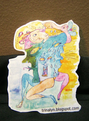 sticker grotesque weird WTF art original watercolor