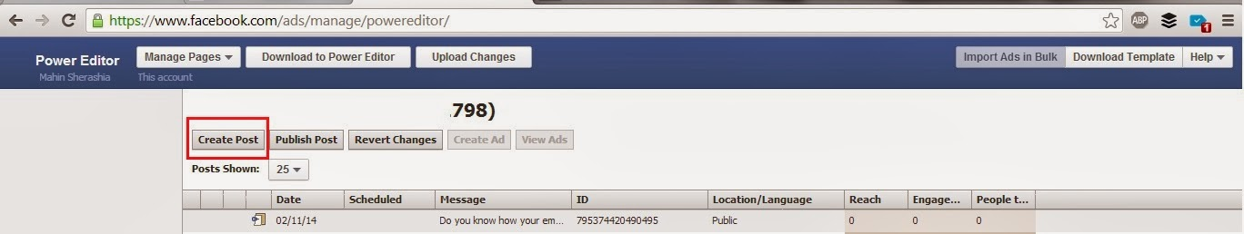 Create post for Call to action in facebook