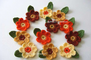 Crochet Flower Applique Autumn