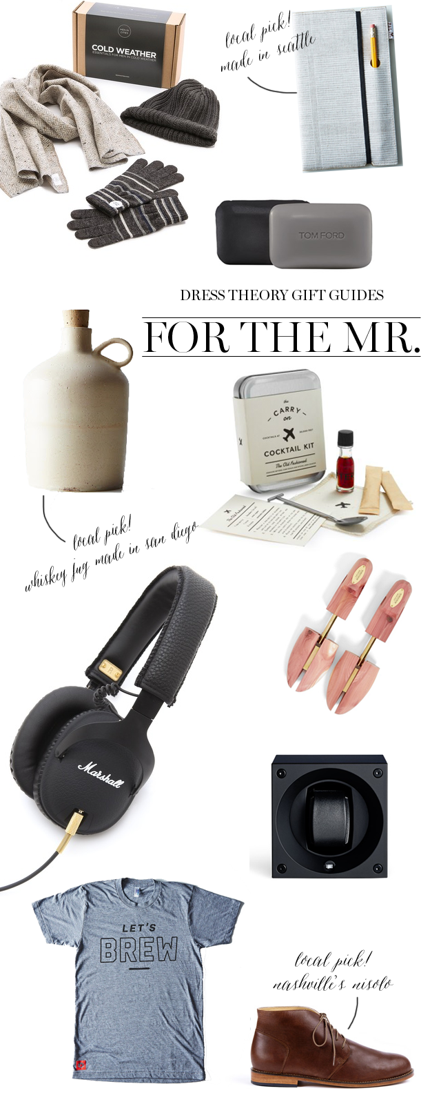 dress theory holiday, christmas, and stocking stuffer guide and gift picks for your groom or husband