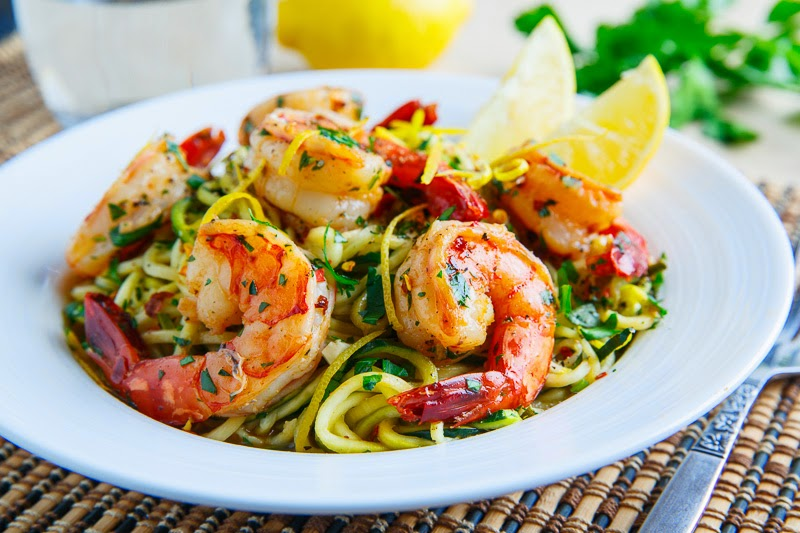 Shrimp Scampi with Zucchini Noodles on Closet Cooking