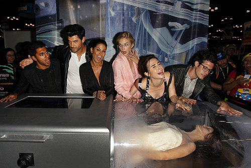 Stitchers cast with corpse cassette at New York Comic Con
