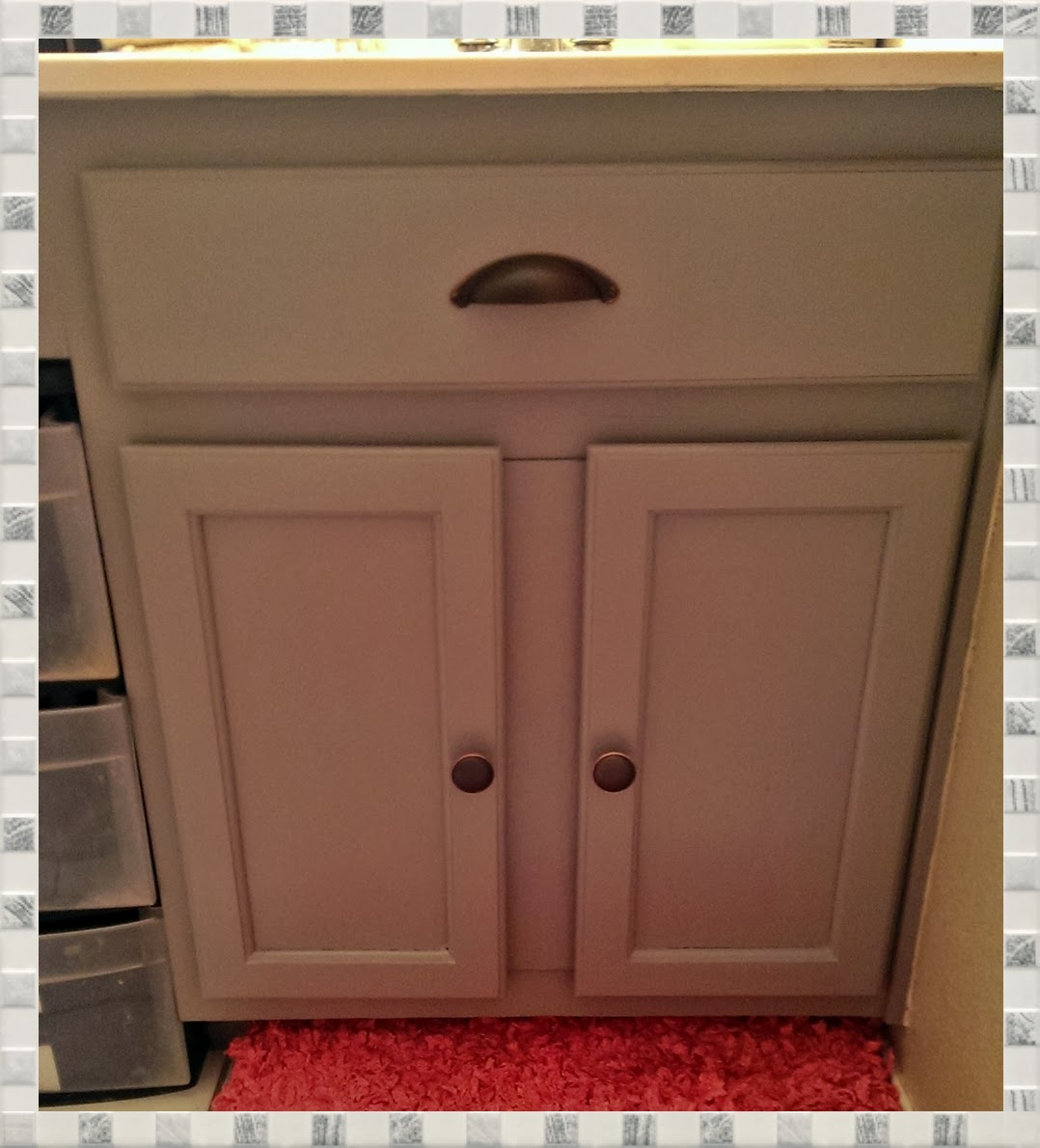 How To Paint Over Stained Bathroom Cabinets meg-made creations: paint bathroom cabinets diy - how to paint