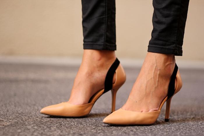 black waxed jeans, zara nude heels
