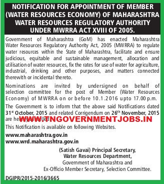 Applications are invited for the Post of Member in Water Resources Economy