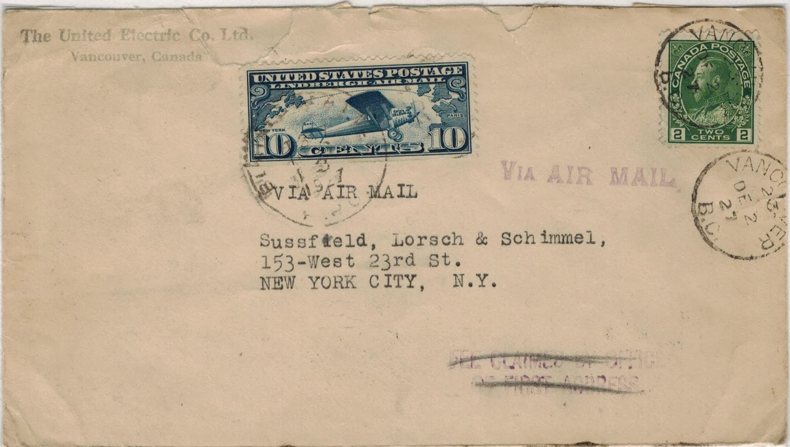 air mail letter rates from canada to the united states 1927 1976