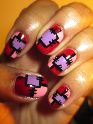 Valentine inspired, Valtentine's Day, pink, red, perple, patchwork, Sally Hansen Red Carpet, nails, nail art, nail design, mani