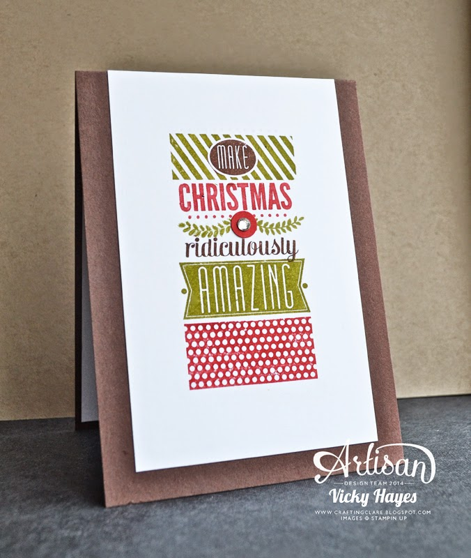 Amazing Birthday by Stampin' Up given a Christmas twist by UK demo Vicky Hayes