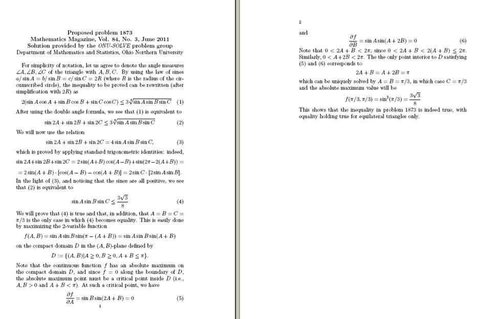 MATHEMATICAL TRIPS: ONU-SOLVE, solution to Problem 1873 (Mathematics ...