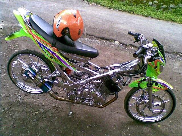Modifikasi Suzuki Satria FU warna hijau