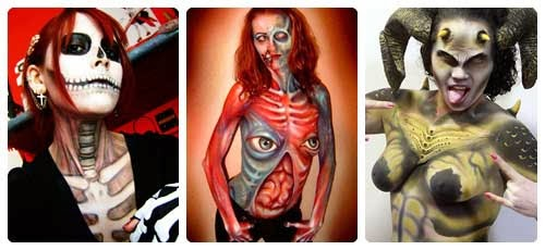 Body paint para Halloween collage
