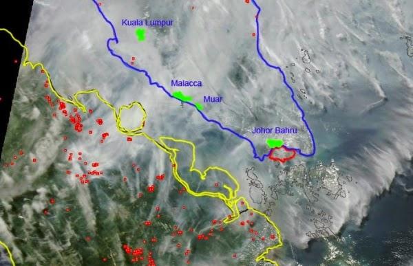 マレーシアのヘイズ煙害2013年6月ナサによる航空図