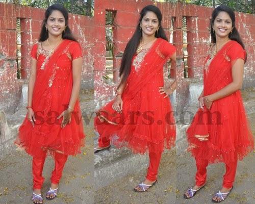 Satya Sri Red Salwar Kameez
