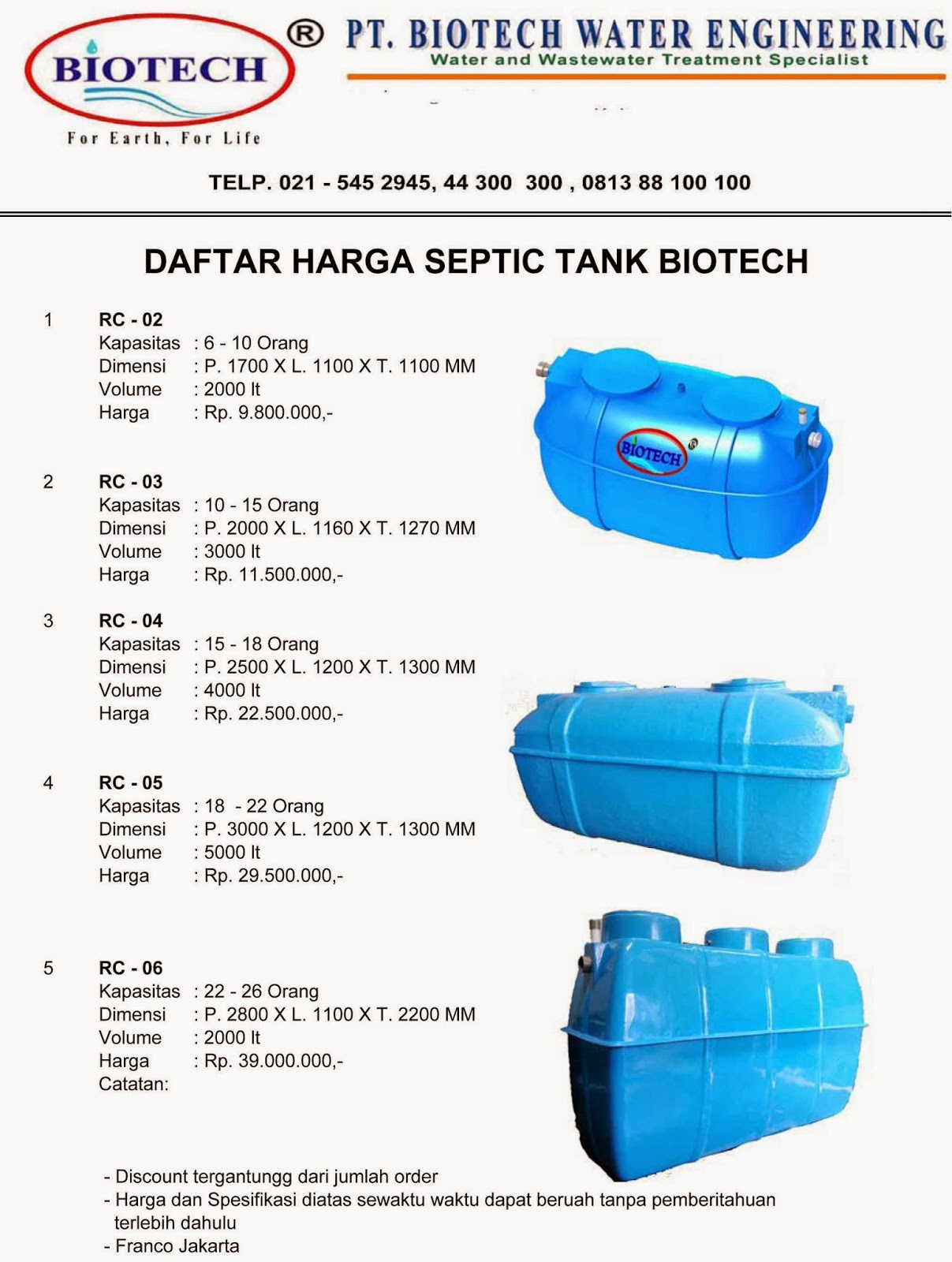 price list biotech rc, stp, ipal, flexible toilet fibreglass