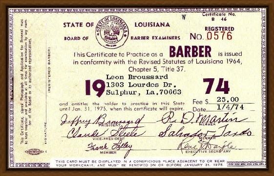 Barber Requirements : Barber Necklace Galleries: Barber License