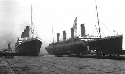 Sister ships the Olympic and Titanic seen together at Thomson Graving Dock in Belfast