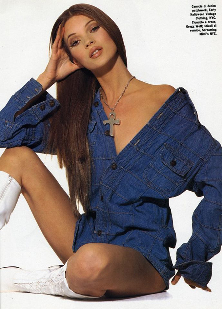 Kate Moss for Glamour France May 1992, ohotographed-by Steven Meisel, styled by Roseann Repetti, hair by Serge Normant