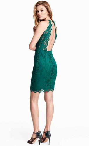 vestido corto encaje H&M