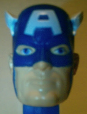 Close up of Captain America PEZ face