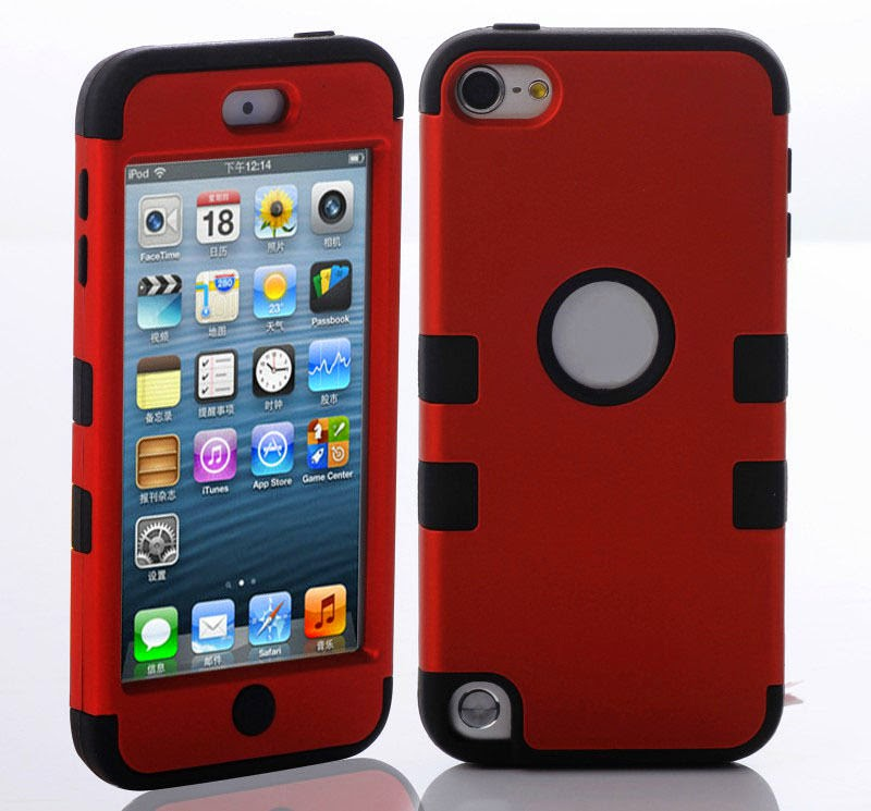 For iPod Touch 5 5TH Triple High Impact Hard Soft Rubber Armor Case Hybrid Cover