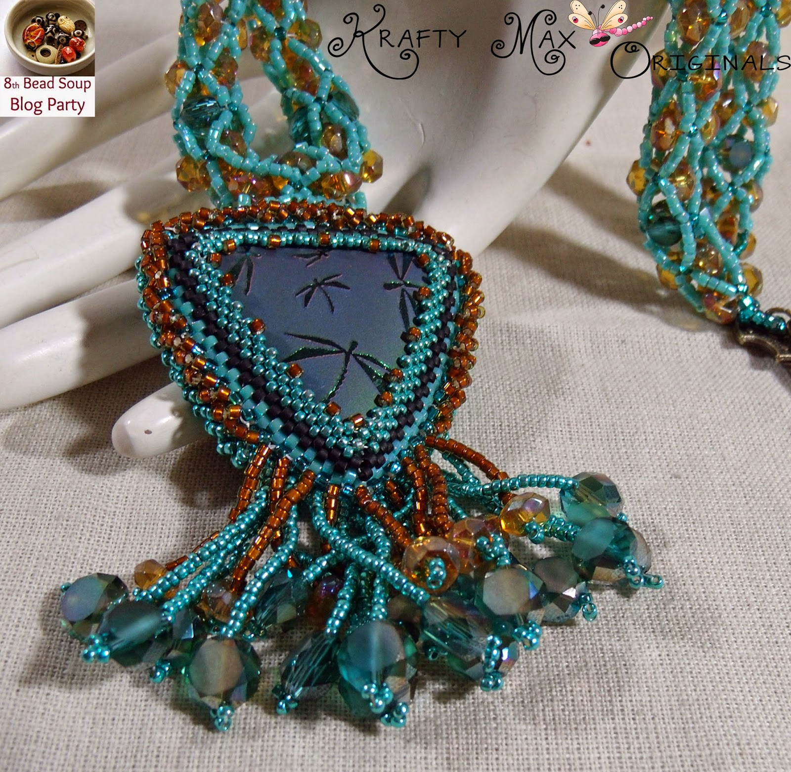 http://www.artfire.com/ext/shop/product_view/KraftyMax/9265070/8th_bead_soup_blog_party_-_teal_dragonfly_beadwoven_neclace_set/handmade/jewelry/sets/beadwoven