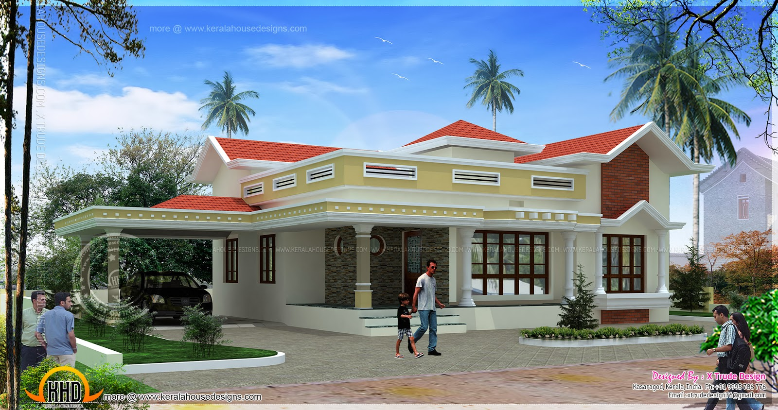 Single floor small house design kerala home design and for Separate car porch design