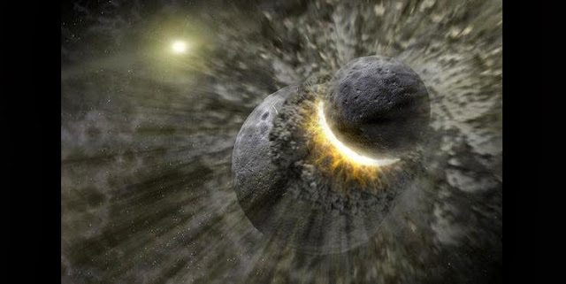 An artist's rendering shows a planetary collision near the star Vega. The Earth's moon may have formed from the debris of such an impact between Earth and another body. Credit: NASA