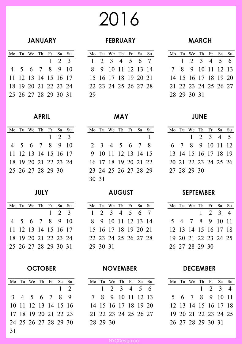 Free Julian Calendar 2016 | Calendar Template 2016