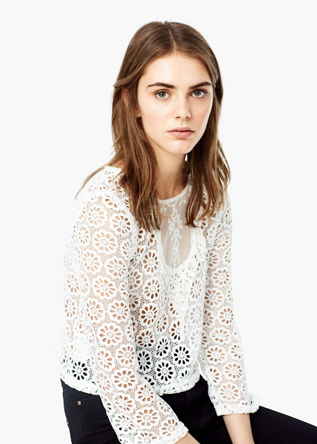 mango cream lace top