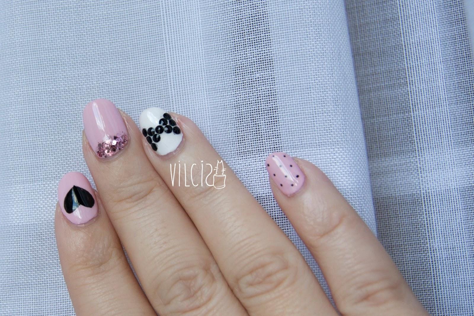 Reto ABC uñas L de LOVE corazón lazo purpurina vilcis diseño de uñas