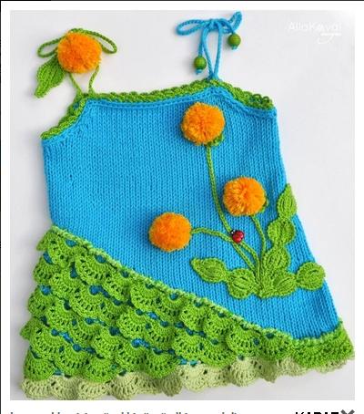 cicek motifli elorgusu bebek elbiseleri Tığ İle İşlenen Kız Bebek Elbise Modelleri