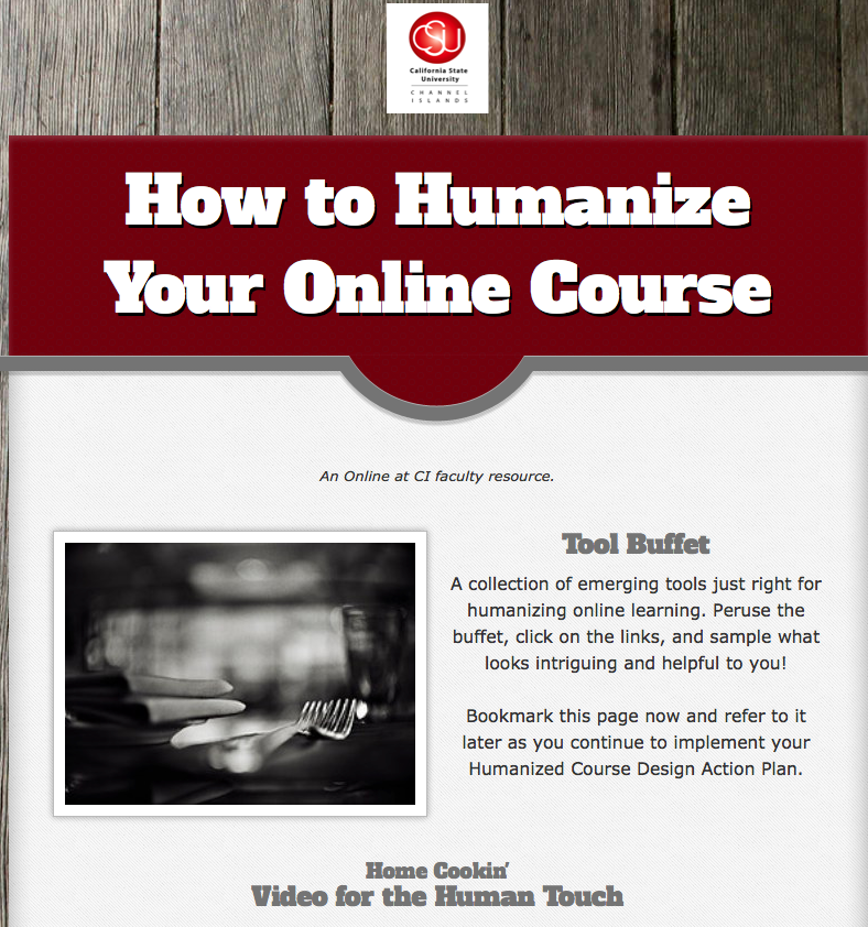 "Image of The Tool Buffet site, a resource for the CSUCI ""How to Humanize Your Online Class' course."