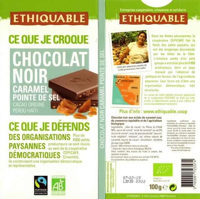 tablette de chocolat noir gourmand ethiquable pérou noir caramel pointe de sel