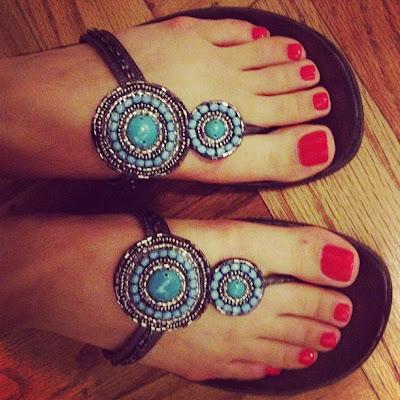 opi cajun shrimp nail polish bright red orange toes pedicure