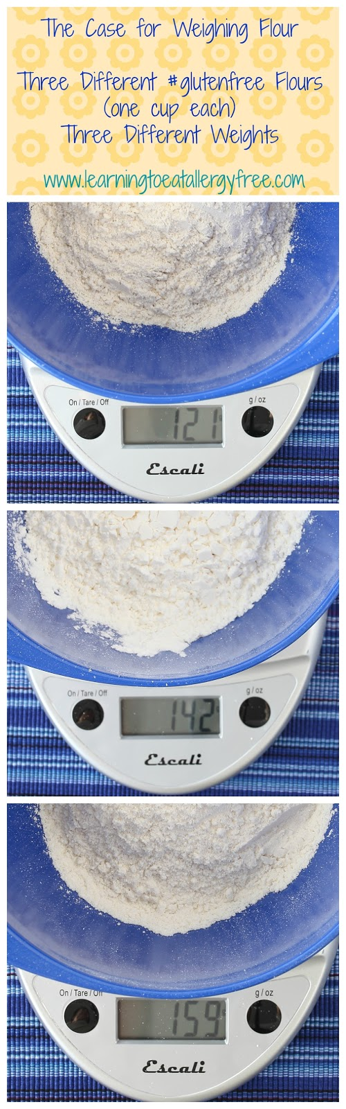 One cup each of three different gluten-free flour blends, three different weights. Learn the best way to measure gluten-free flour at Learning to Eat Allergy-Free