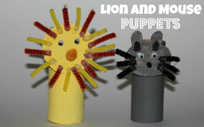 Here is how we made the Lion and Mouse Puppets :
